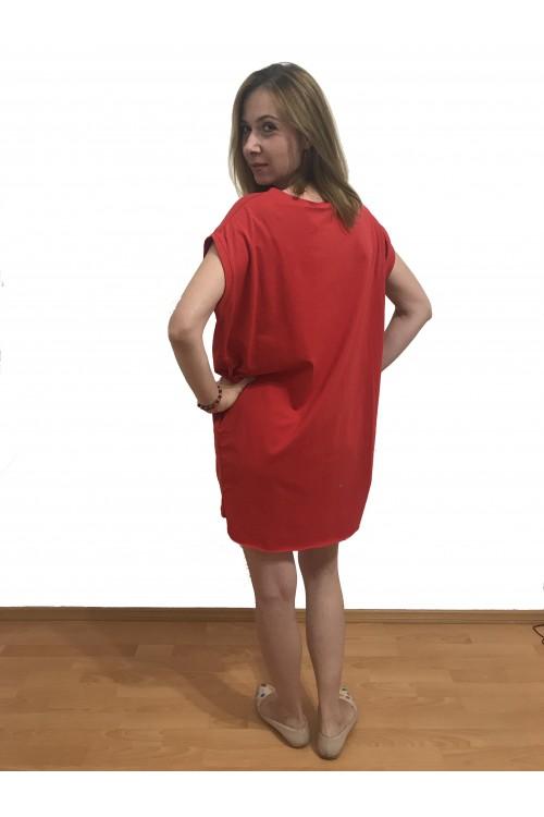 Rochie rosie sport cu buzunare