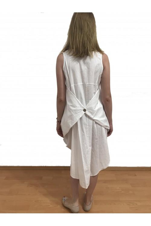 Rochie alba de zi asimetrica