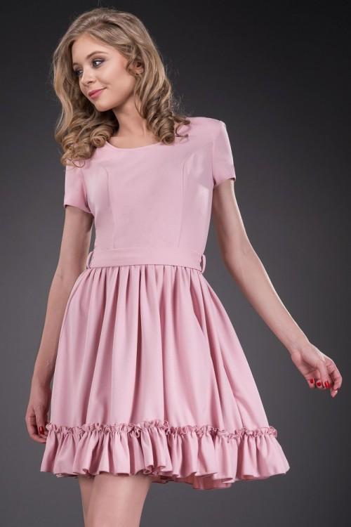 Rochie de zi roz pal Serena