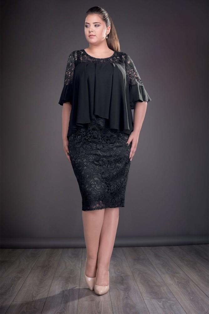 Rochie Eleganta Din Dantela Si Voal Neagra Sanda