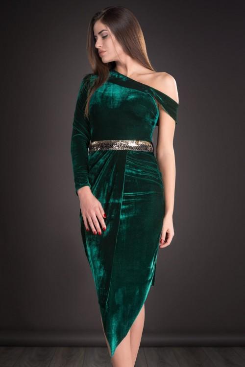 Rochie verde de catifea cu...
