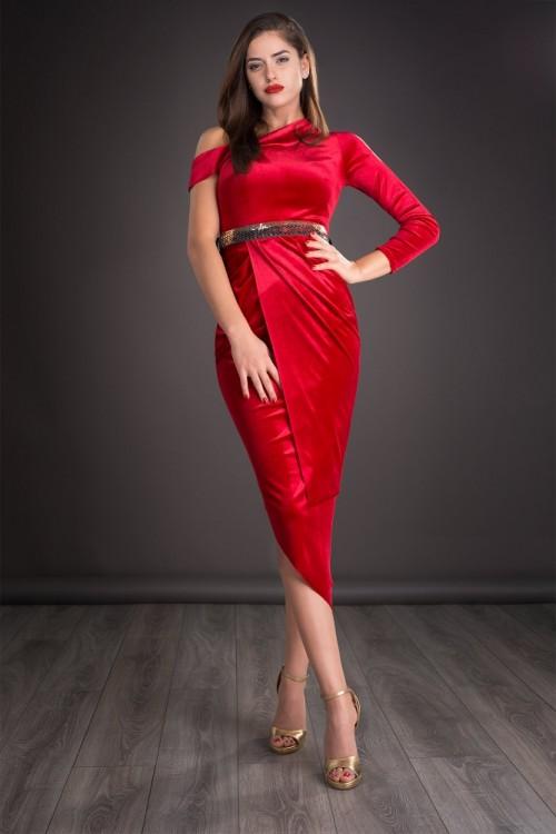 Rochie eleganta rosie din...