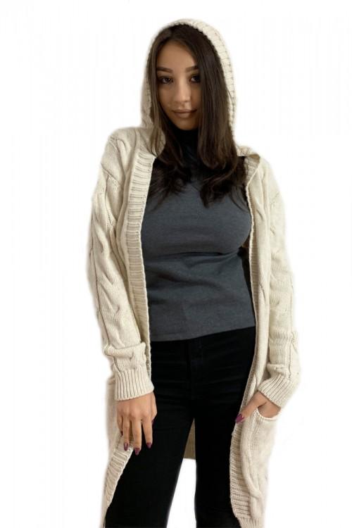 Cardigan tricotat alb murdar