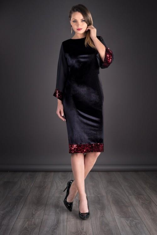 Rochie negra din catifea cu...
