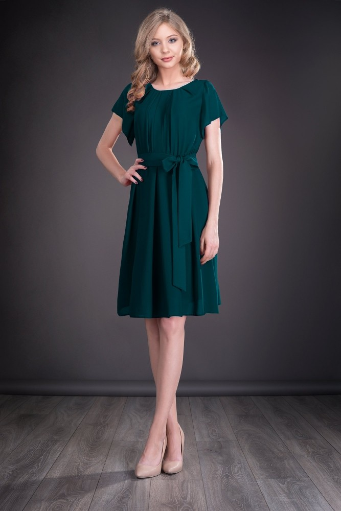 Rochie Eleganta Din Voal Verde Smarald Tania