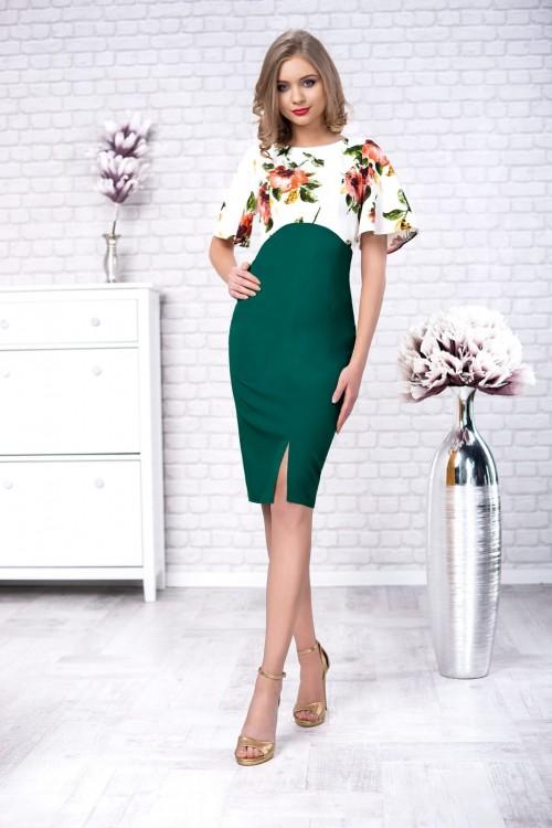 Rochie verde cu imprimeu...