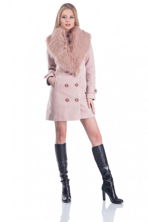 Palton elegant cu guler de...