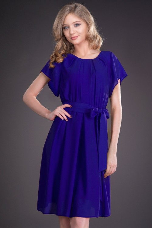 Rochie albastra din voal Raisa