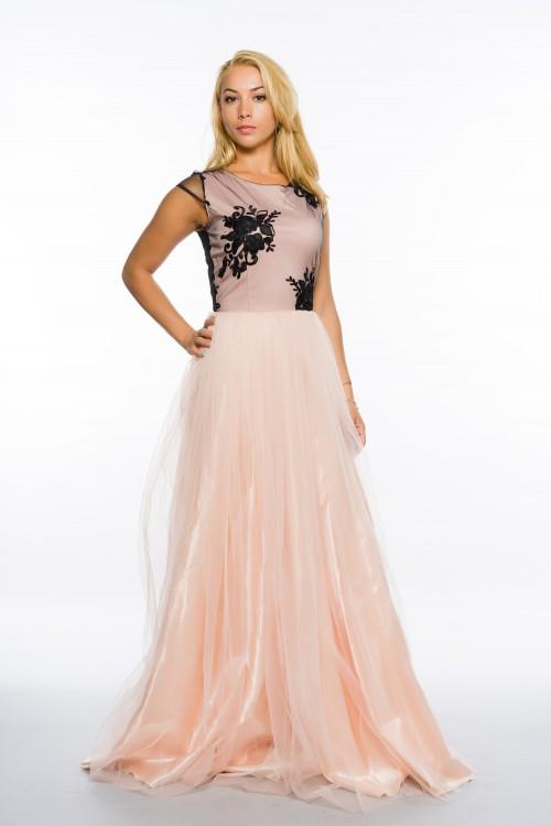 Rochie lunga din tull roz