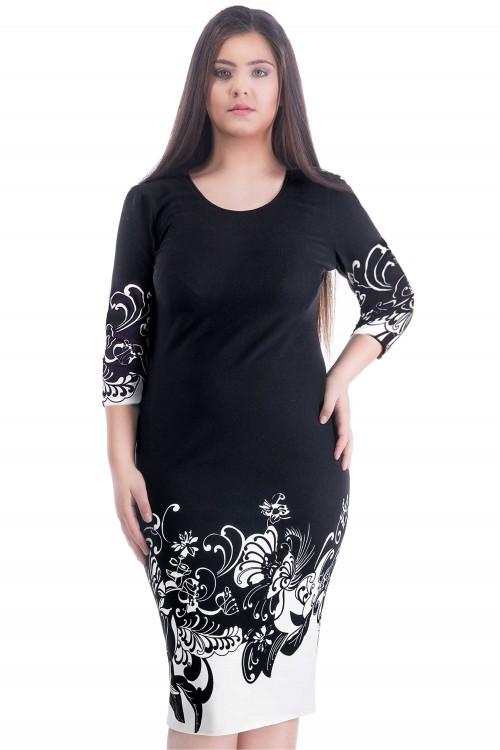 Rochie neagra cu flori albe...