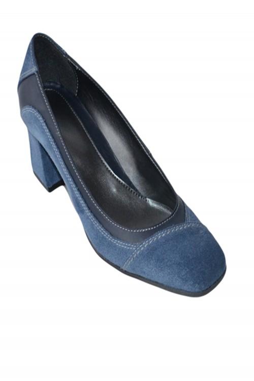 Pantofi cu toc patrat albastri
