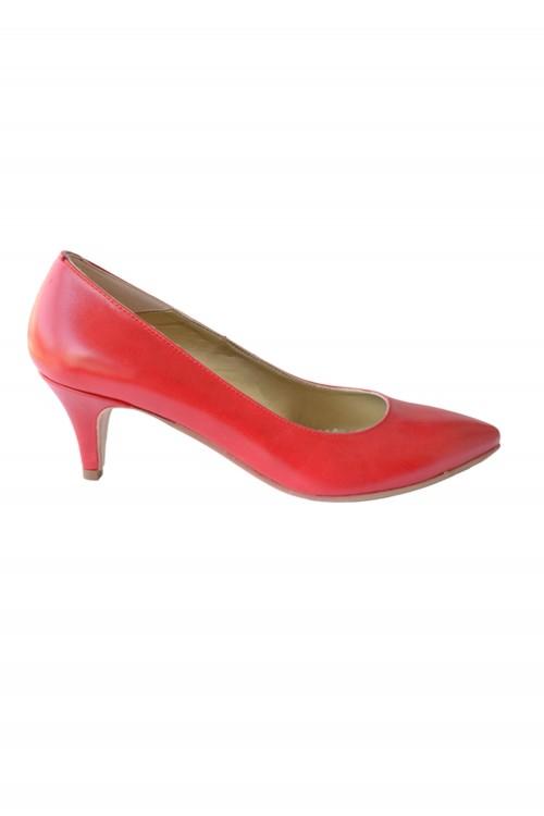 Pantofi ascutiti cu toc rosi