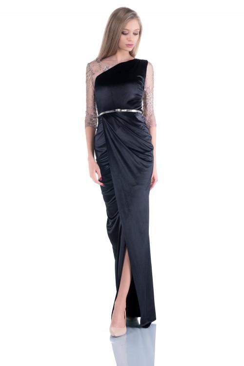 Rochie lunga din catifea si...